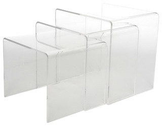 Acrylic Nesting Tables, Set of 3 - Modern - Side Tables And End Tables - by Baxton Studio