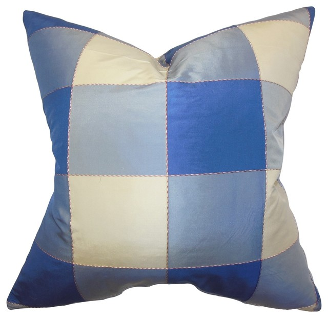 Traditional Accent Pillows : Keats Plaid Pillow Blue 18