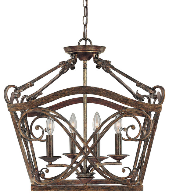 Capital lighting 9361rt reserve 4 light foyer fixture for Mediterranean lighting fixtures
