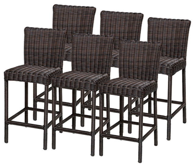 6 Rustico Barstools w/ Back - Tropical - Outdoor Bar ...