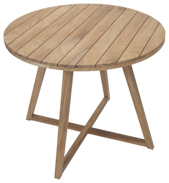 Medina 90cm Round Teak Table Contemporary Garden Dining Patio Table