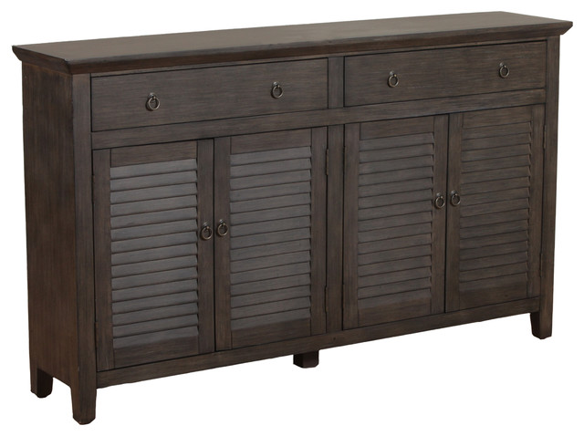 Powell two drawers four door console transitional for Sofa table with drawers and doors