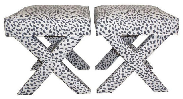 Charcoal white leopard print x benches a pair Leopard print bench