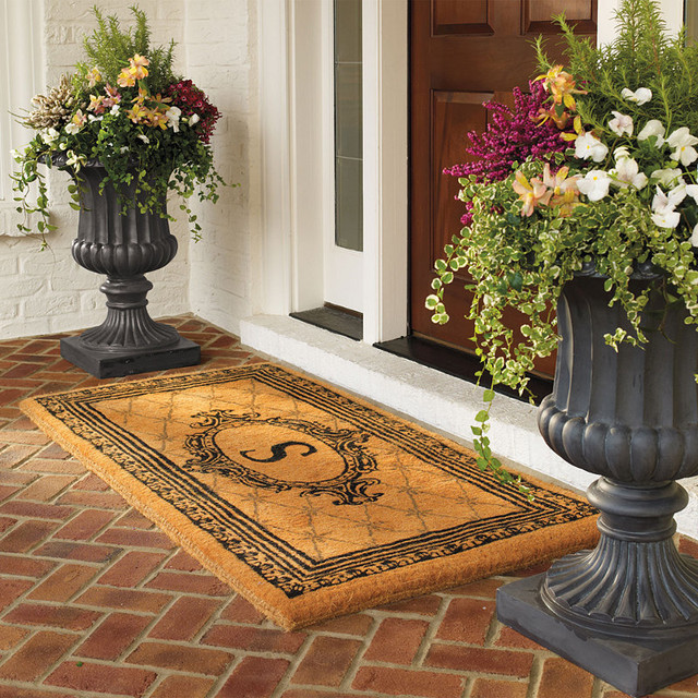 Black Estate Monogram Coco Mat Traditional Doormats