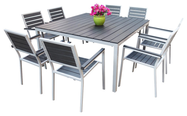 Outdoor Aluminum Resin 9 Piece Square Dining Table and Chairs Set Contempor