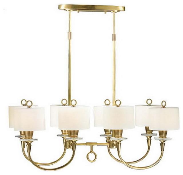 Crystal 8 light chandelier island light traditional kitchen island
