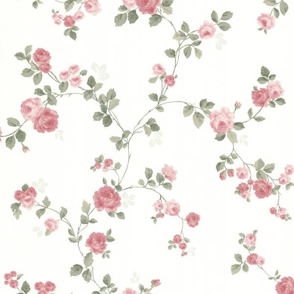Cornelia Pink Rose Trail Wallpaper, Bolt. - Traditional - Wallpaper ...