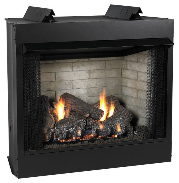 Premium 36 vent free see thru mv fireplace modern for Contemporary ventless gas fireplaces