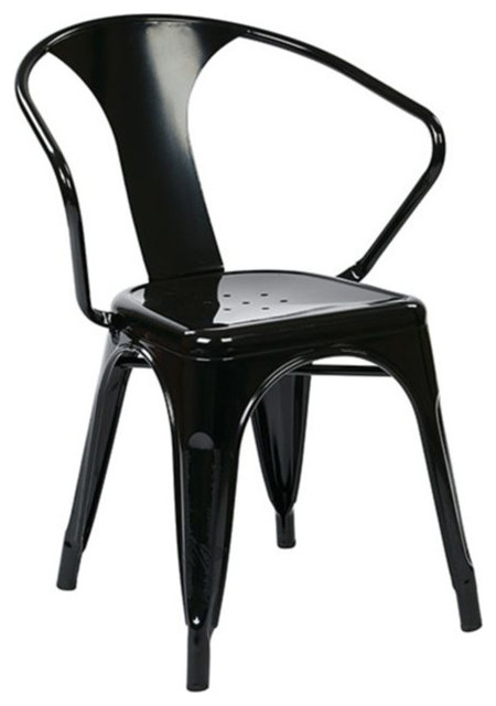 Office Star Patterson Metal Chair In Black Set Of 2 Set Of 4 Contemporary