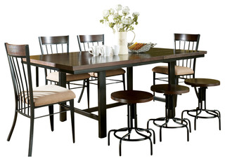 silver crosby 8 piece dining room set in espresso with black metal