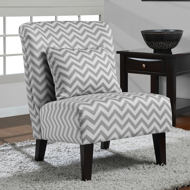 Anna Grey White Chevron Accent Chair Contemporary