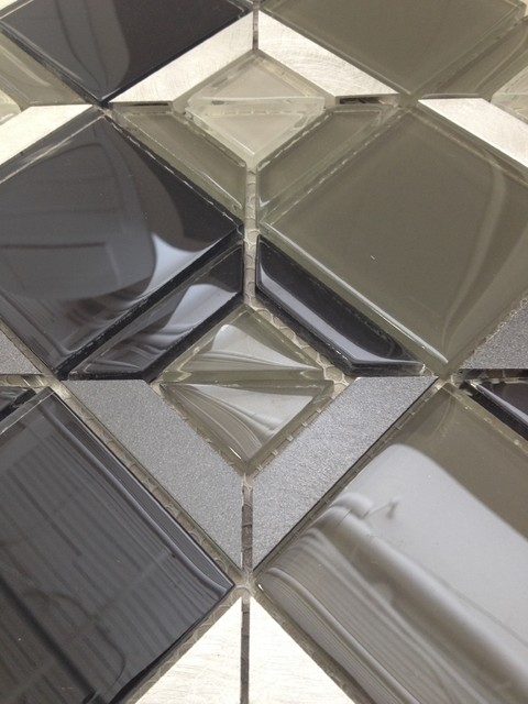Tile contemporary bathroom toronto by cercan tile inc - Triangle Pattern Charcoal Mosaic Contemporary Tile