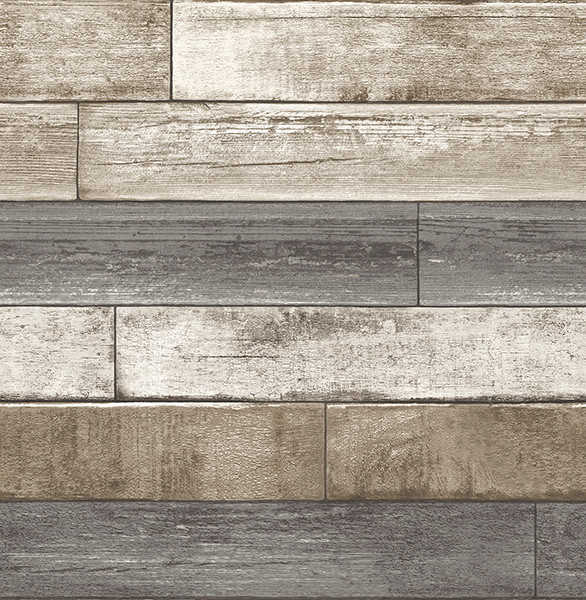 Weathered Wood Plank Wallpaper GrayTaupeWhite Bolt