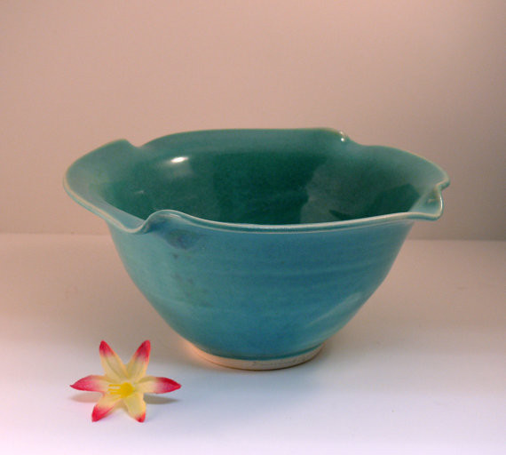 Blue Ceramic Bowl Personal Size Salad Bowl By Blue Sky Pottery Modern Dining Bowls on classic american style bedroom