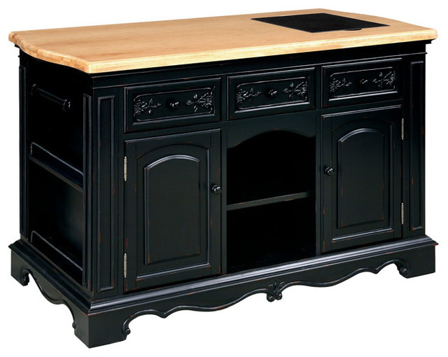 powell pennfield kitchen island in black and natural