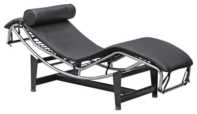 Fine mod imports adjustable chaise black contemporary for Black chaise lounge indoor