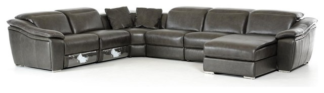 Leather Sofas Leather Page - Dark grey leather sectional sofa