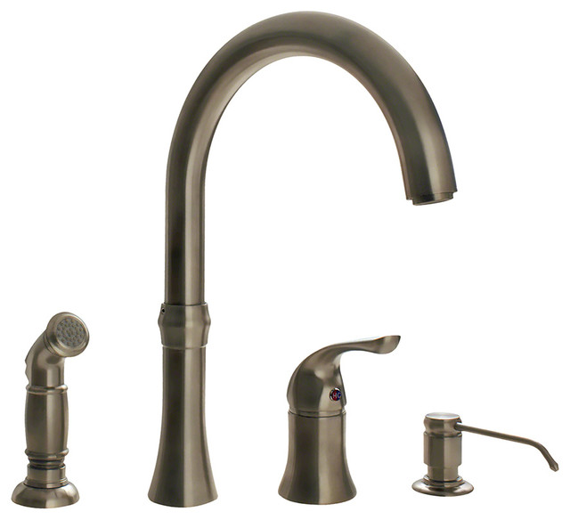 Brushed Nickel 4 Hole Kitchen Faucet