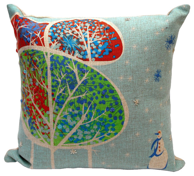 Snowman Holiday Decorative Throw Pillow - Contemporary - Decorative Pillows - by Overstock.com