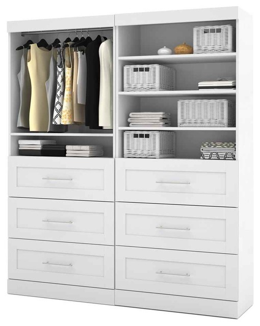72 in. Storage Unit with 3 Drawers in White - Contemporary - Closet Organizers - by ShopLadder