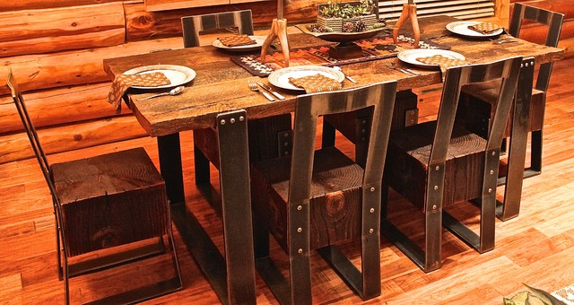 Reclaimed Wood Steel Furniture Rustic Dining Sets Salt Lake City By F