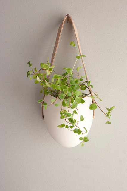 Porcelain And Tan Leather Hanging Planter By Farrah Sit