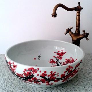 Hand Painted Plum Flower Ceramic Sink Asian Bathroom Sinks Other Metro
