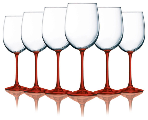 Red Cachet Wine Glasses with Beautiful Colored Stem Accent ...