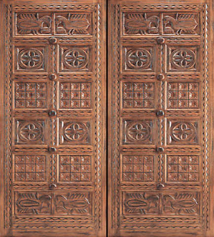 Indian style hand carved mahogany prehung double door for Front door decoration indian style