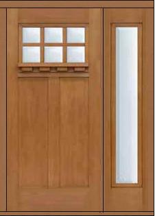 Prehung Sidelite Door 80 Fiberglass Craftsman 6 Lite Sdl Glass Arts Crafts Front Doors