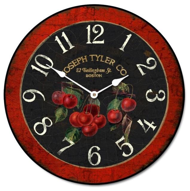 "French Cherries Kitchen Clock, 18"" Farmhouse-wall-clocks"