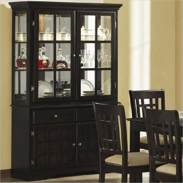 Coaster Baldwin Buffet & Hutch with 2 Glass Doors Deep Cappuccino - Contemporary - China ...