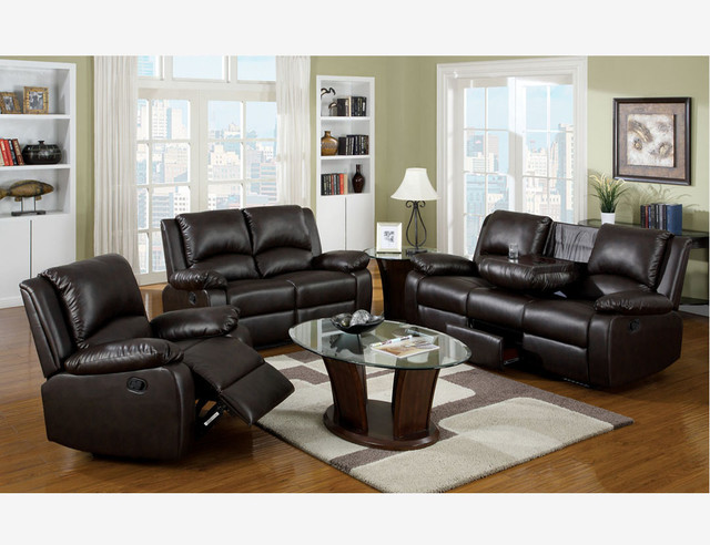 Brown Leather Reclining Sofa Loveseat Recliner Living