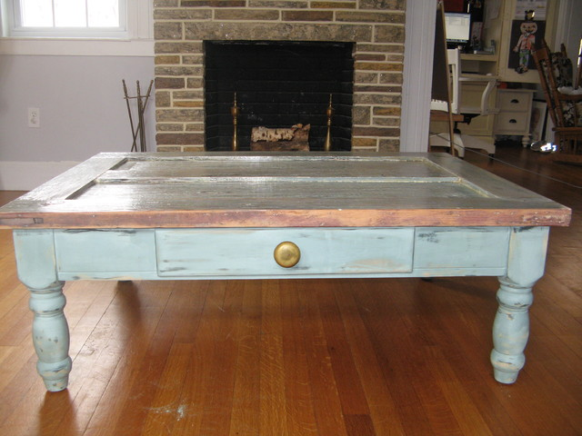 Custom rustic furniture eclectic coffee tables for Rustic door coffee table