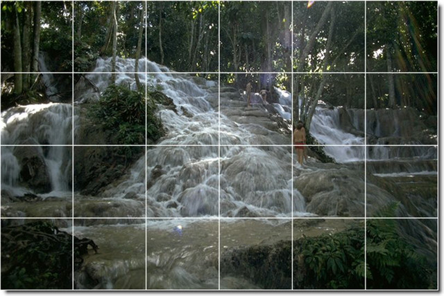 Waterfalls photo custom tile mural 26 tropical tile for Custom photo tile mural