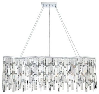 Wave Chrome and Crystal Possini Euro Rectangle Chandelier - Contemporary - Chandeliers - by Euro ...