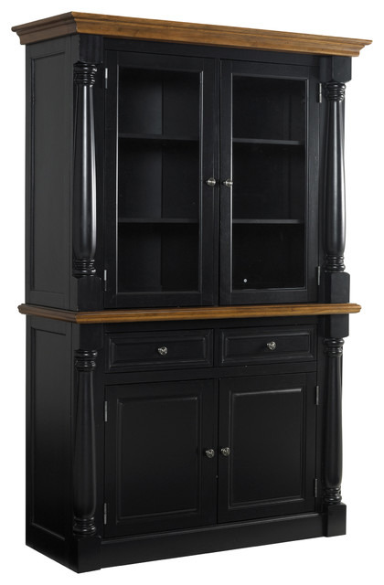 Monarch Black Buffet and Hutch - Contemporary - China Cabinets And Hutches - by Overstock.com