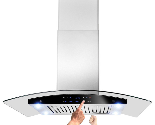 Akdy Stainless Steel Island Mount Range Hood Smoke Glass