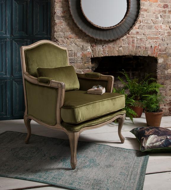 Hathaway moss green velvet armchair traditional living for Traditional armchairs for living room