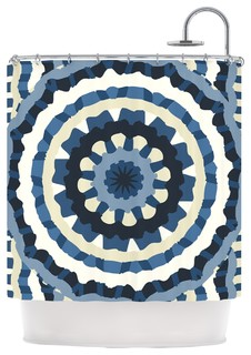 Laura Nicholson Ribbon Mandala Navy Tan Shower Curtain Contempo