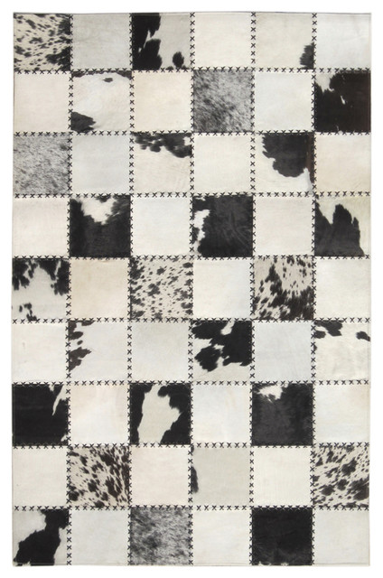 4 X6 Madisons Black And White Cow Spot Square Pattern