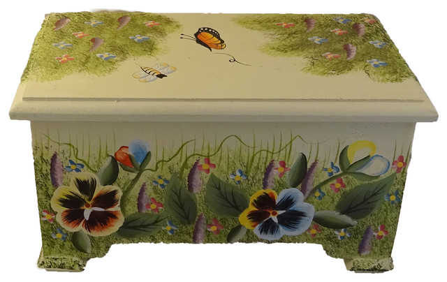Decorative Box Lid : Decorative box pansy design wooden boxes hinged lid
