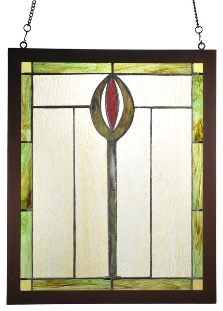 spear wood frame window panel contemporary stained