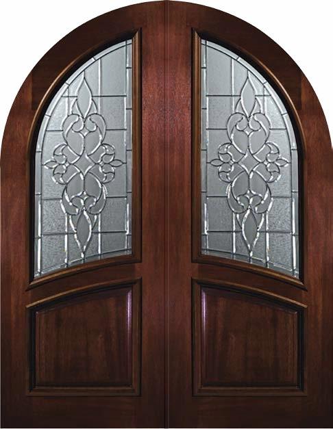 Pre Hung Entry Double Door 96 Wood Mahogany Courtlandt Round Top Mediterran