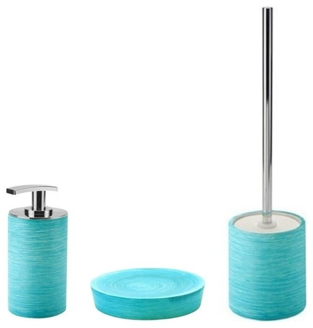 Light blue free standing bathroom accessory set for Cream bathroom accessories set