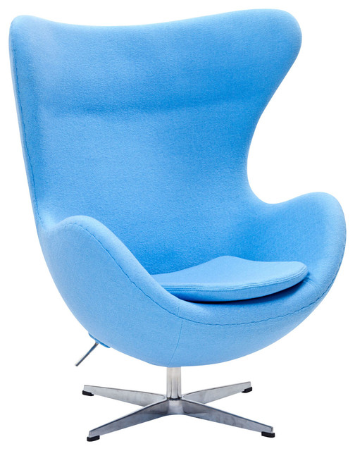 MODERN LIGHT BLUE FABRIC LOUNGE CHAIR INSPIRED BY ARNE JACOBSEN EGG CHAIR