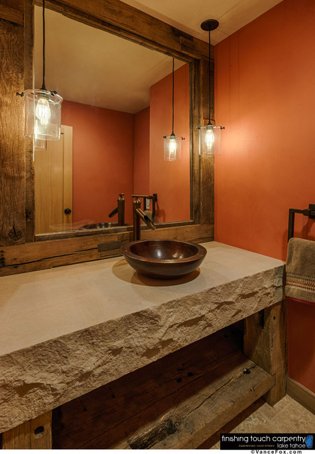Repurposed barn wood furniture for Rustic vanity mirrors for bathroom