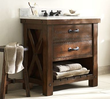 benchwright single sink console rustic mahogany stain