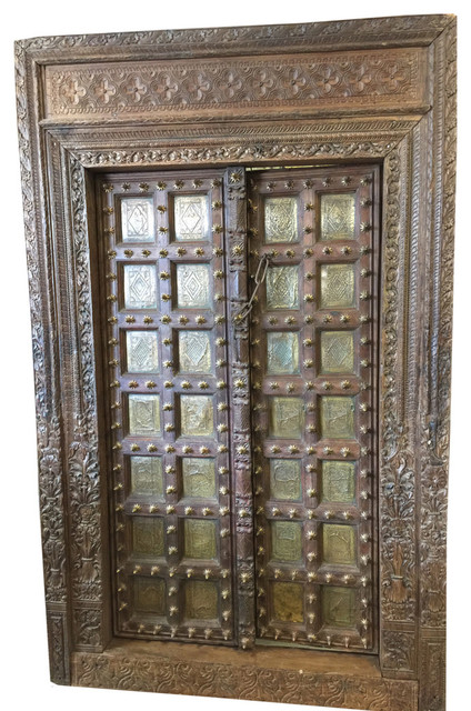 Antique indian doors haveli style hand carved reclaimed teak doors and frame rustic interior for Antique looking interior doors