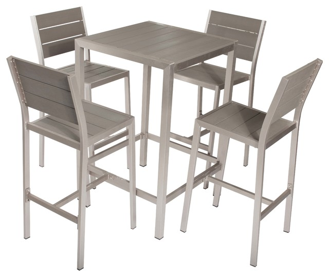 betty 5 piece bar set gray transitional indoor pub and bistro sets